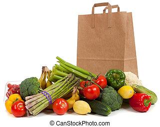 geassorteerd, groentes, met, een, kruidenierszaak zak