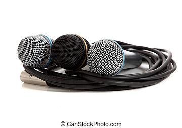 geassorteerd, microfoons, op wit
