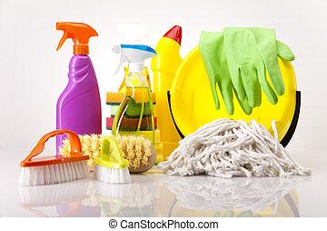 geassorteerd, poetsen, producten