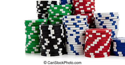 geassorteerd, pokerchips, op, een, witte achtergrond