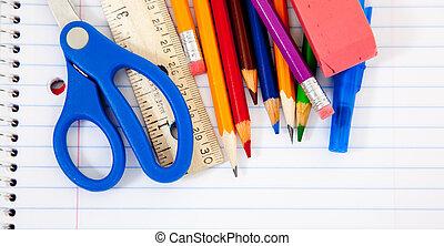 geassorteerd, schoolbenodigdheden, met, notitieboekjes