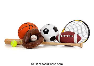 geassorteerd, sportartikel, op wit