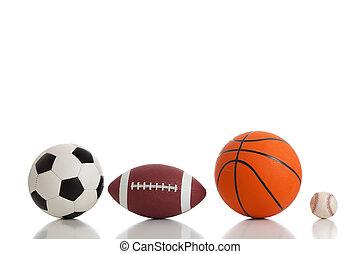geassorteerd, sporten, gelul, op wit