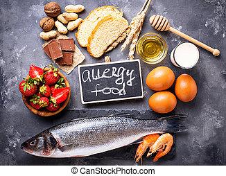 geassorteerd, voedingsmiddelen, concept., allergie, producten, allergisch