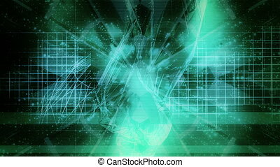 geavanceerd, blauw groen, abstract, versie, twee, looping, achtergrond