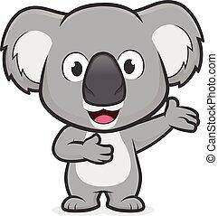 gebärde, begrüßen, koala
