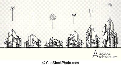 gebäude, abstrakt, architektur