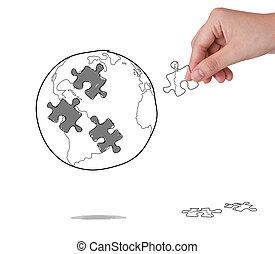 gebäude, begriff, geschaeftswelt, puzzel, hand, erdball