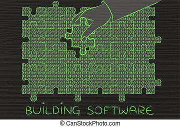 gebäude, binärer, fehlend, puzzel, hand, stück, code, software