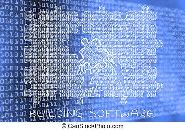 gebäude, binärer, puzzel, lücke, füllung, stück, code, software