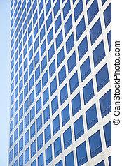 gebäude, blaues, buero, modern, himmelsgewölbe, zurückwerfend