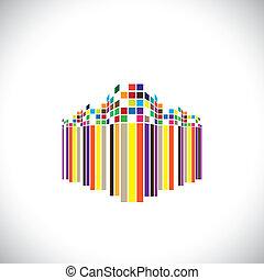 Gebäude, blaues, Buero, Usw, dieser, grafik,  modern,  -, zukunftsidee, abbildung, mögen,  orange, Farben, vektor, Architektur, Schwarz, rotes, bunte, Abstrakt, Struktur, Ikone