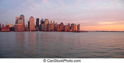 gebäude, boot, panorama, himmelsgewölbe, kratzen, ufer, sonnenuntergang, new york, linie