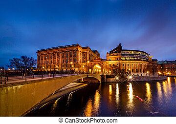 gebäude, brücke, abend, riksdag, stockholm, schweden, riksgatan