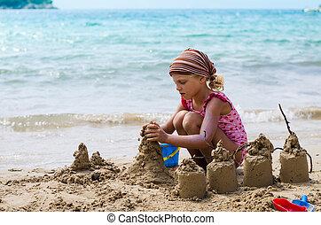 gebäude, burgen, sand, kind