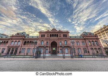gebäude, casa, aires, buenos, rosada, argentina.