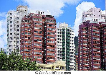 gebäude, daheim, hongkong