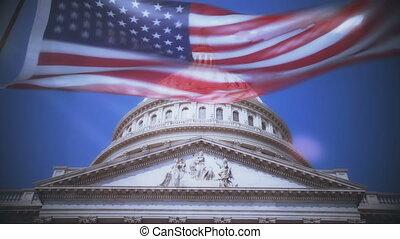 gebäude, dc., vereint, kapitol, washington, staaten, fahne, ...
