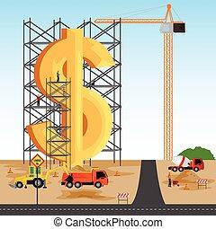 gebäude, dollar, struktur