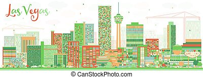 gebäude., farbe, abstrakt, skyline, las vegas, las