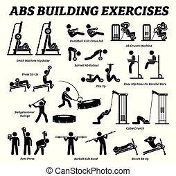 gebäude, figur, abdomen, pictograms., waschbrettbauch, stock, muskel, übung