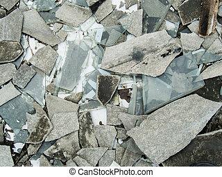 gebäude, fliesenmuster, verlassen, glas, windows, verfallen, zement, unordung, dach