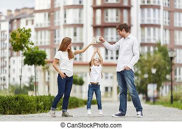 gebäude, glücklich, wohnung, familie, neu , front