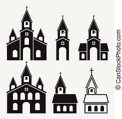 gebäude, heiligenbilder, vektor, schwarz, kirche, weißes
