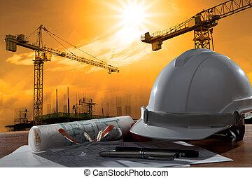 gebäude, helm, sicherheit, szene, pland, holz, architekt, datei, tisch, baugewerbe, sonnenuntergang