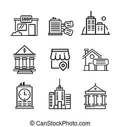 gebäude, ikone, satz, abbildung, design