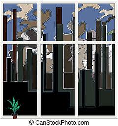 gebäude, industrie, illustration., concept., probleme, kamine, vektor, ökologie, rauchwolken, fabrik