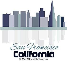 gebäude, logo, skyline, francisco, san