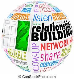gebäude, lohnend, kugel, networking, wörter, beziehung,...