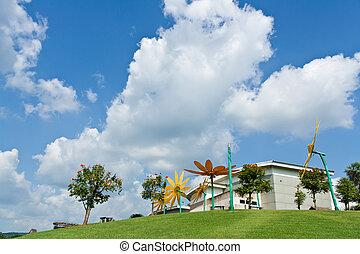 gebäude, museum, mae, moh, bergwerk, auf, der, grünes gras, blau, himmelsgewölbe