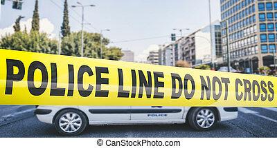 gebäude, polizei- auto, hintergrund., text, gelber , linie., kreuz, warnung, abbildung, verwischen, not, band, 3d