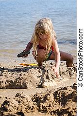 gebäude, sand, kind