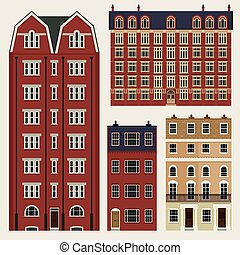 gebäude, satz, klassisch, häusser, terrasse, englisches
