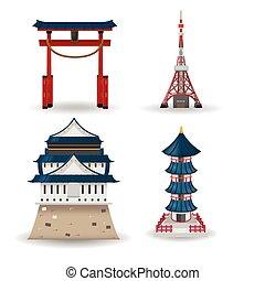 gebäude, satz, reise, sammlung, vektor, japan