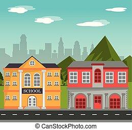 gebäude, schule, häuserfront, mit, berge, stadt, landschaftsbild