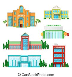 gebäude, set., schule, abbildung, vektor, architektonisch