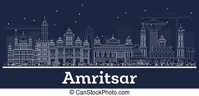 gebäude., skyline, grobdarstellung, amritsar, stadt, indien, weißes