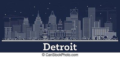 gebäude., skyline, grobdarstellung, detroit, stadt, weißes, michigan