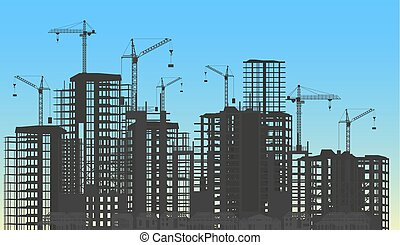 gebäude, stadt, konstruktionen, prozess, concept., unter, silhouette., website, kräne, baugewerbe, schablone, infographics, turm