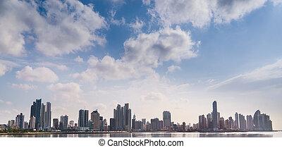 gebäude, stadt, panorama, panama, skyline, meer