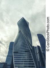 gebäude, stadt, wolkenkratzer, buero, türme, moskauer , modernes geschäft, architektur, international, zentrieren