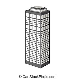 gebäude, stil, symbol, high-rise, web., abbildung, ledig, vektor, wolkenkratzer, skyscraper., monochrom, ikone, bestand