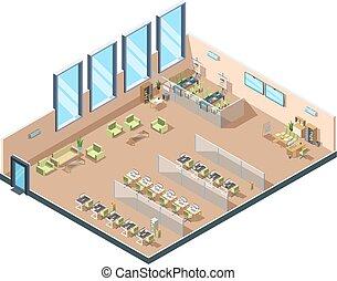 gebäude, tische, isometrisch, kabinette, manager, arbeitende , bereich, stühle, büro., ausrüstung, vektor, groß, inneneinrichtung, rgeöffnete, korporativ