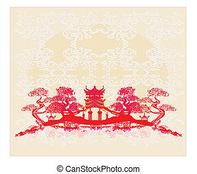 gebäude, uralt, chinesisches , abstrakt, -, landschaftsbild