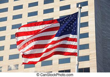 gebäude, vereint, buero, national, modern, gegen, staaten, fahne, amerika