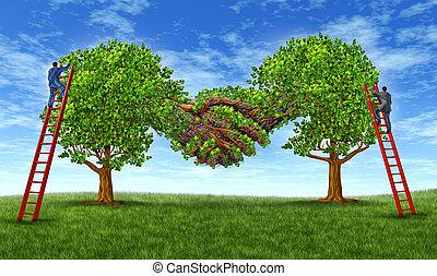 gebäude, vertrauen, und, wachsen, a, partnerschaft